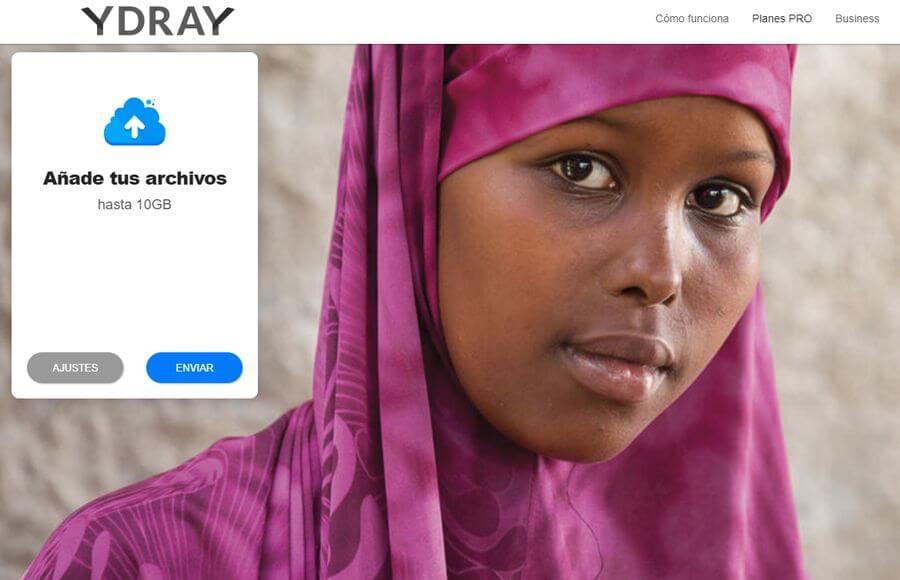 Ydray: enviar archivos de hasta 10 GB online y gratis