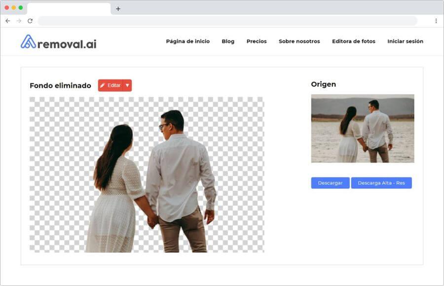 Hacer fondo transparente automáticamente y gratis de cualquier fotografía
