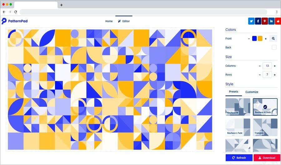 PatternPad: web gratuita para crear bonitos fondos basados en patrones