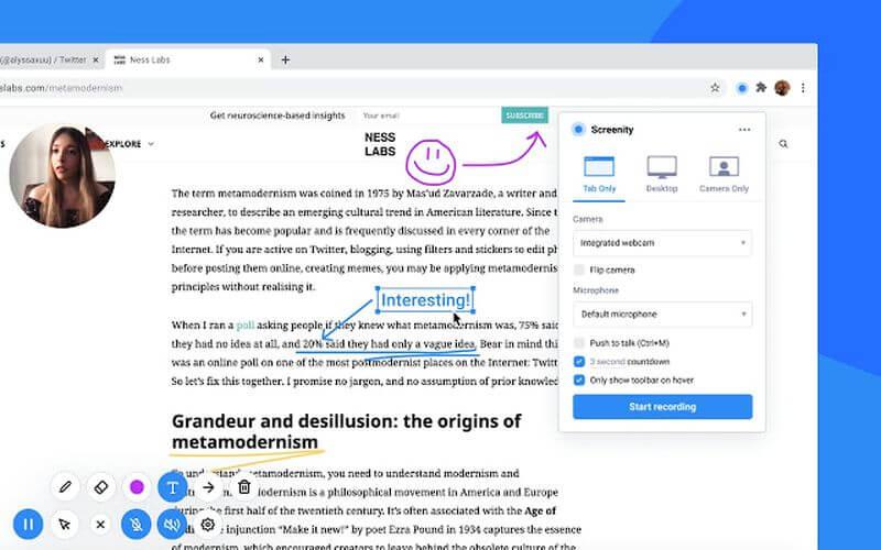 Screenity: grabador de pantalla, con opciones de edición, para Chrome