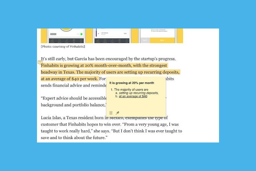 Beanote: señalar textos y añadir notas en páginas y artículos
