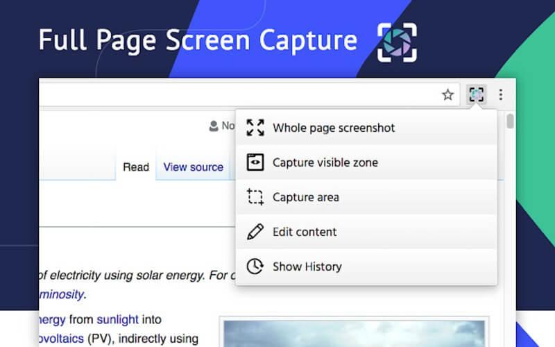 Captura de pantalla desde Chrome con extras y opciones de edición