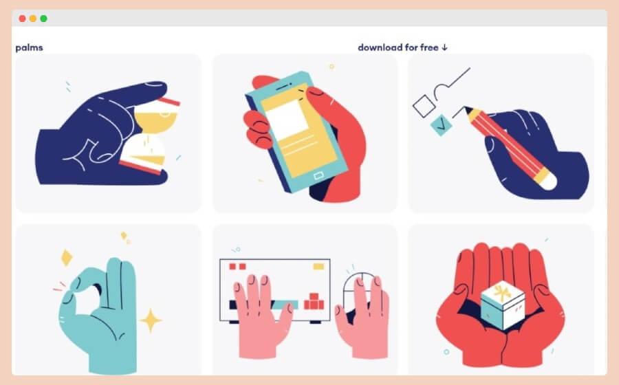 Palms Illustrations: ilustraciones gratuitas protagonizadas por manos