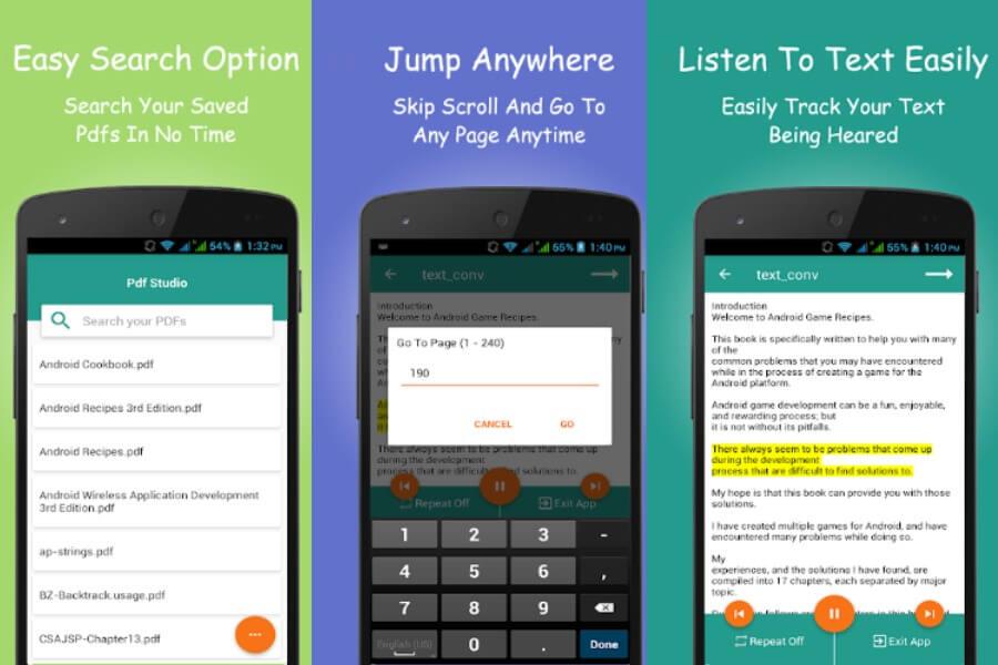 Escuchar documentos PDF en Android gratis con la aplicación Pdf Studio