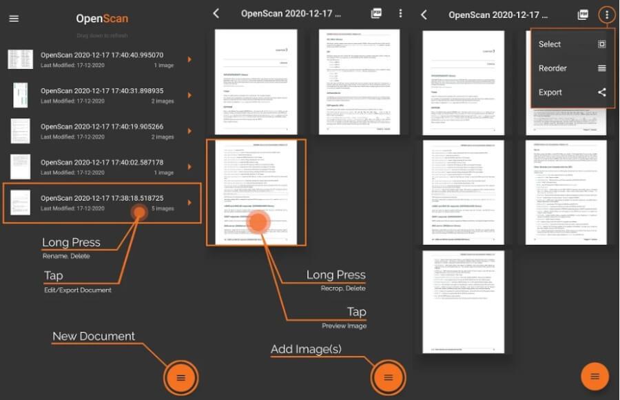 OpenScan: aplicación gratuita para Android para escanear documentos