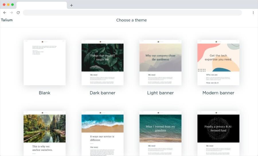 Talium: crear y publicar gratis hermosas páginas web en unos minutos