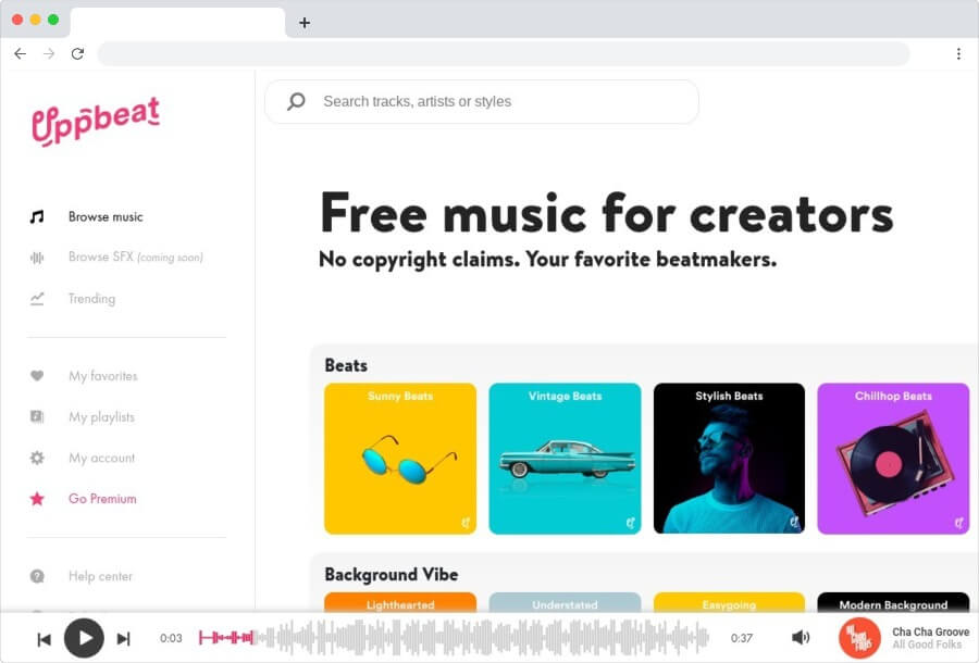Uppbeat: música gratuita para vídeos de YouTube y otros proyectos