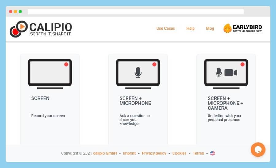 Calipio Screen Recorder: grabar la pantalla gratis desde el navegador