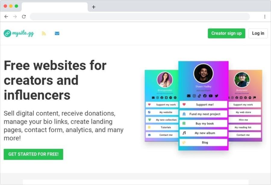 Sitios web gratuitos para influenciadores y creativos con muchos extras