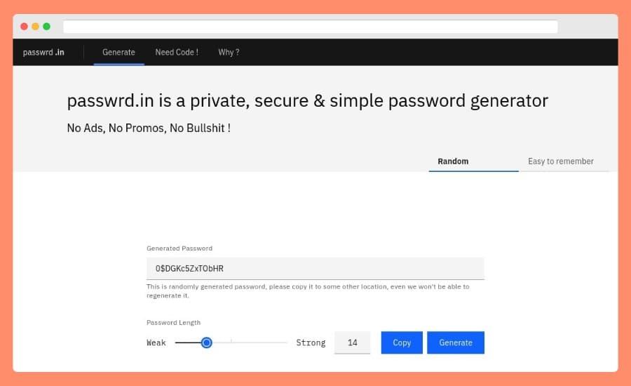 Generar contraseñas seguras online y gratis en la página de Passwrd