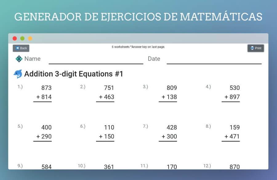 Math Homework Gen: generador de hojas de ejercicios de matemáticas