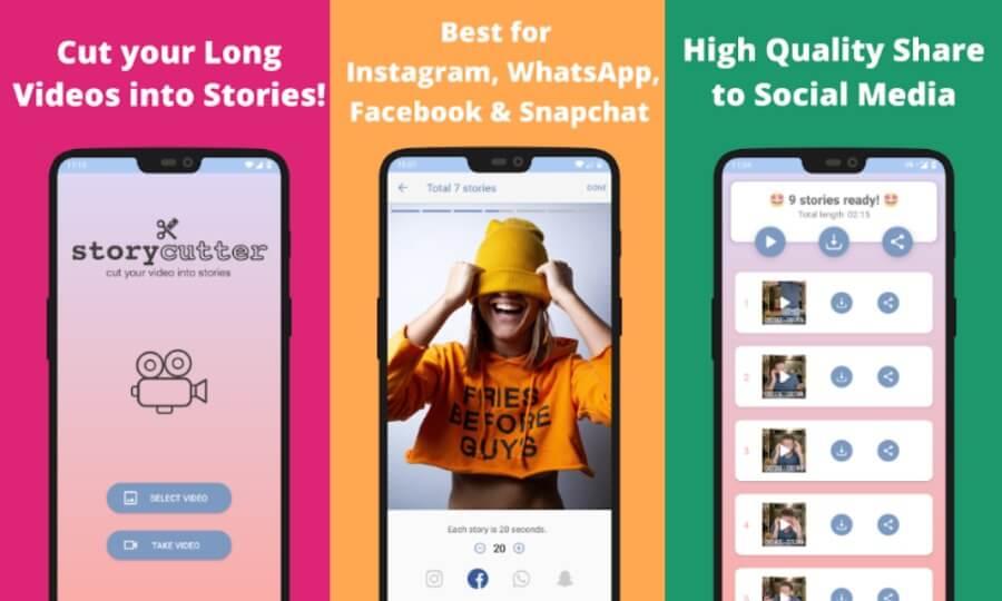 Story Cutter: aplicación Android gratuita para dividir vídeos para Historias