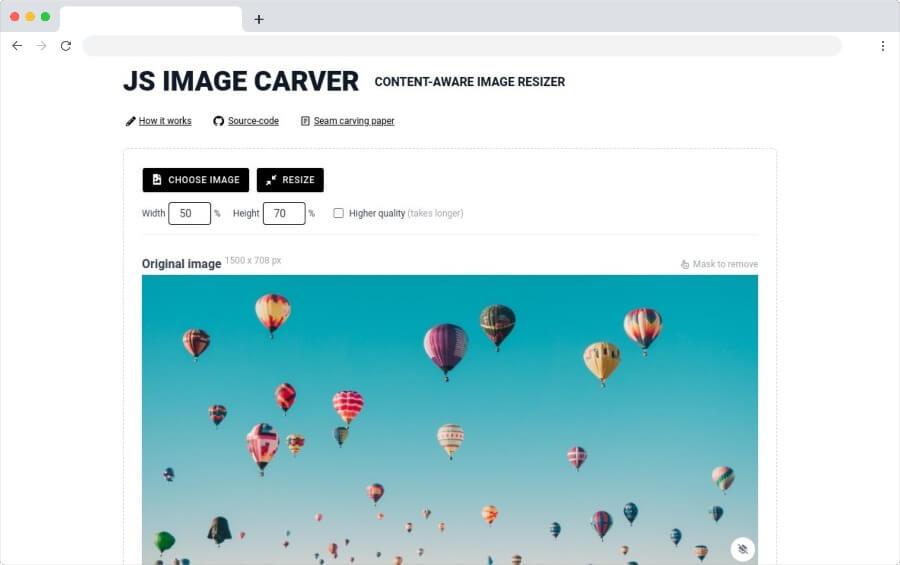 JS Image Carver: herramienta web gratuita para redimensionar imágenes