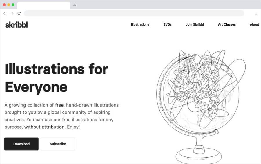 Skribbl: una colección de ilustraciones gratuitas diseñadas a mano
