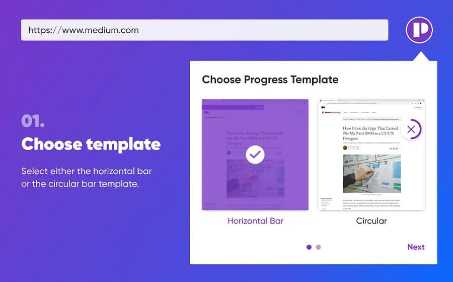 Website read progress: una barra de progreso de lectura para Chrome