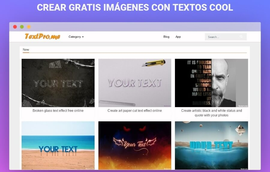 Crear imágenes con textos cool gratis y en línea con TextPro