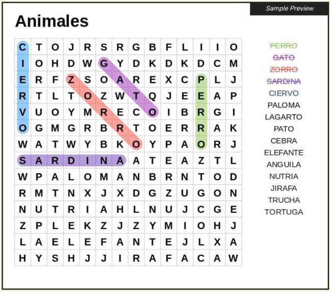 Crear gratis sopas de letras con la utilidad web Word Search Maker