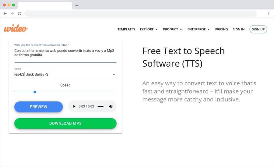 Text to Speech by Wideo para convertir de texto a MP3 en línea y gratis