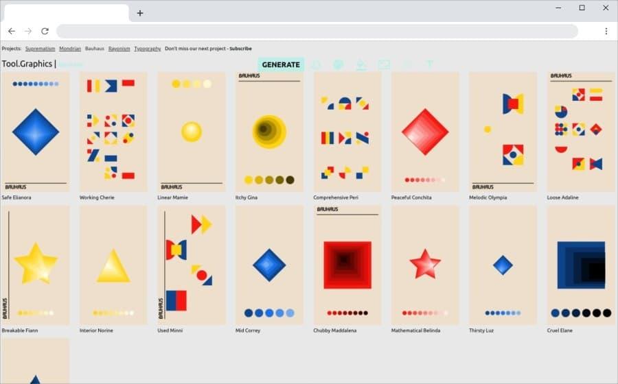 Bauhaus: un generador de gráficos para usar como fondos o ilustraciones