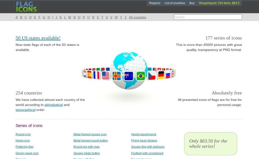Free Flag Icons: colección de iconos gratuitos de banderas de países