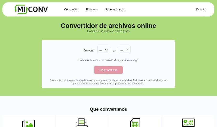 MiConv: herramienta web para convertir un archivo a cualquier otro archivo
