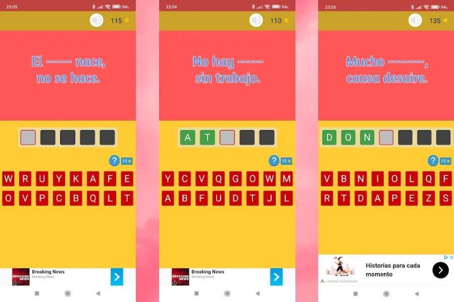 Refraneando: un sencillo juego Android gratuito para adivinar refranes