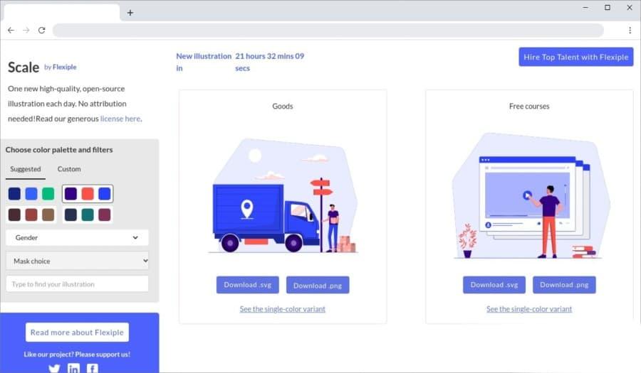 Scale by Flexiple: ilustraciones gratuitas con colores personalizables