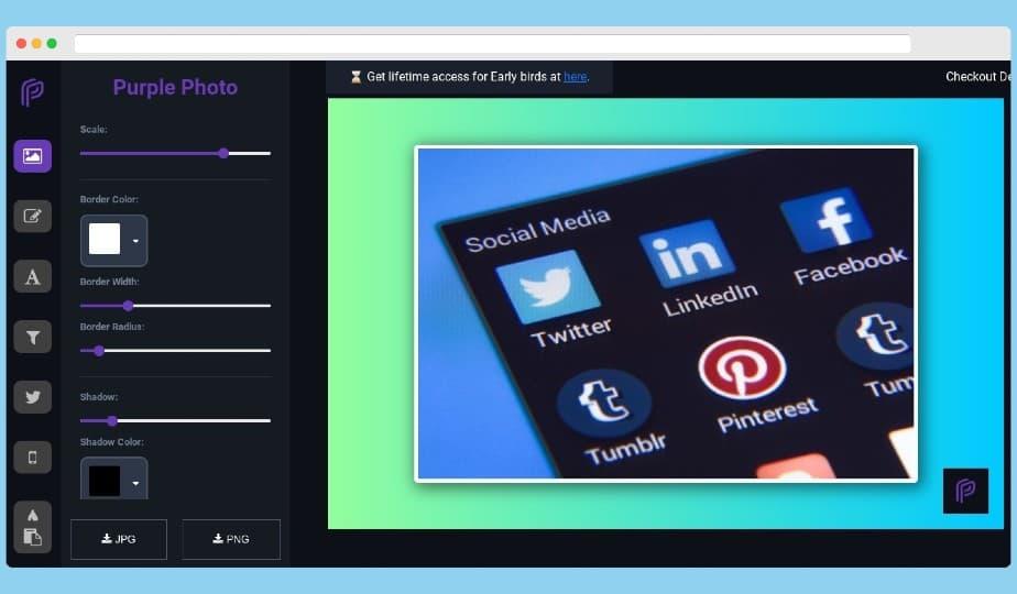 Purple Photo: crea gratis impresionantes imágenes para redes sociales