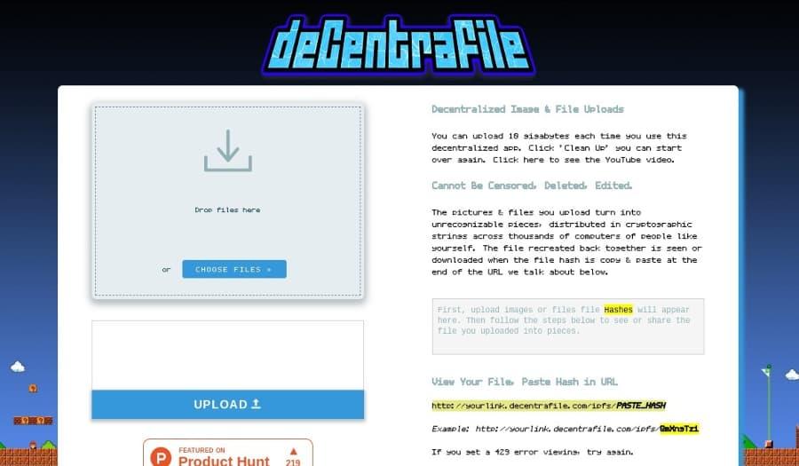Decentrafile: servicio de almacenamiento en la nube descentralizado y anónimo