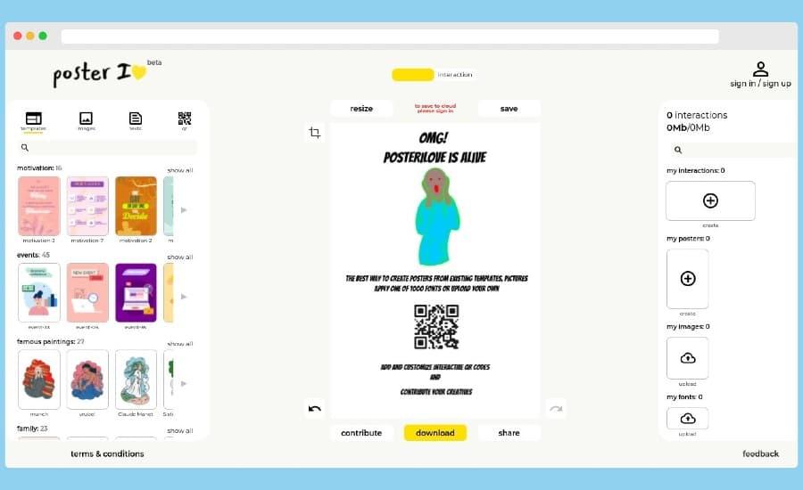 Poster I Love: aplicación web gratuita para diseñar bonitos pósters