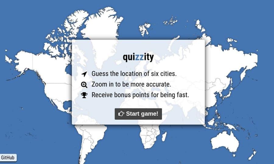 Quizzity: juego educativo en el que debes localizar ciudades en el mapa