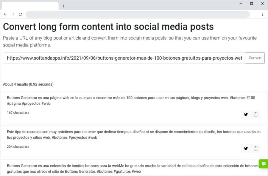Social Media Post Generator: extrae publicaciones sociales de artículos