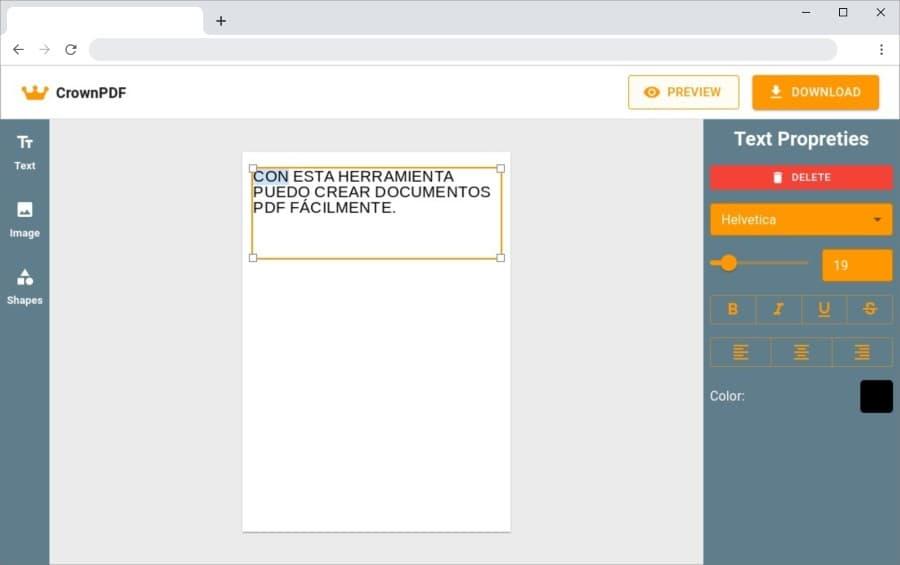 CrownPDF: herramienta web gratuita para crear documentos PDF online